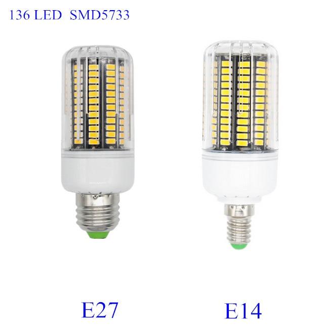 NEW SMD 5733 E14 Lampada LED Lamp E27 220V Ampoule LED Bulb E27 136LED Luz Bombillas LED Light Bulb Spot Lamparas Spotlight ultra bright e27 led lamp smd 2835 bombillas e14 12w led bulb light 220v spotlight lamparas led high quality energy saving