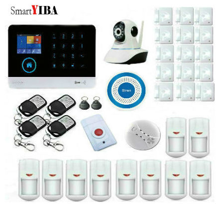 SmartYIBA RFID Touch Keypad WIFI GSM SMS Android APP Wireless Home Burglar alarm system Fire Smoke Detector WIFI IP Camera smartyiba wireless wifi gsm gprs rfid home security alarm system home automation system ip camera smoke fire sensor detector