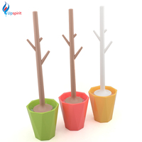 2016 Hot Sale Bathroom Cleaning Accessories Toilet Brush Set Fashion Plastic Toilet Brush Holder Toilet Brush
