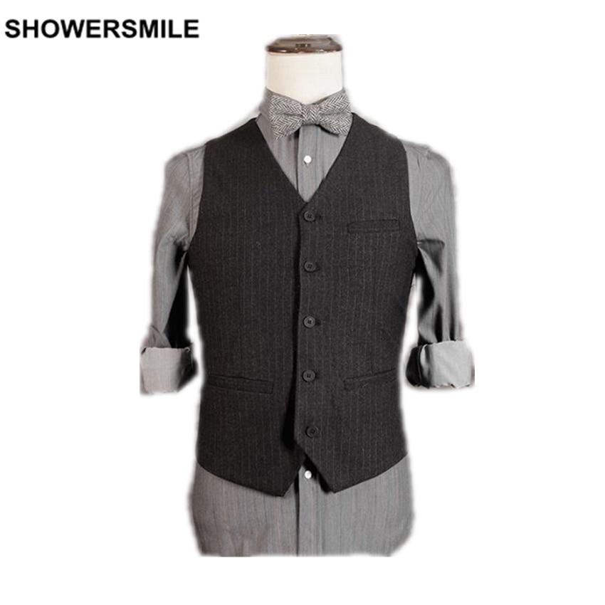 SHOWERSMILE Brand V-Neck Vest Men Striped Sleeveless Jacket Spring Work Black Suit Vests Vintage Gilet Homme New Male Waistcoat