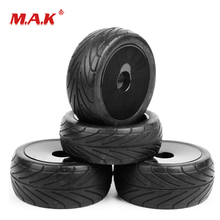 25026+27007 1:10 Scale Ruber Tires and Wheel Rims with 6mm Offset fit RC On-Road Buggy Car Model Toys Accessories