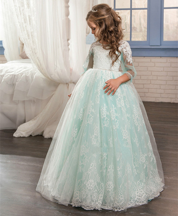 Green Ball Gown Sheer Lace Flower Girl Dresses Formal Appliques O-neck First Communion Gown Pageant Dresses Custom Made 2018 new princess mint and white flower girls dresses sheer crew neck appliques bead formal girl s pageant dresses with train