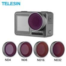 TELESIN كاميرا عدسة تصفية ND4 ND8 ND16 ND32 مجموعة محايد الكثافة حامي عدسة ل DJI Osmo عمل اكسسوارات