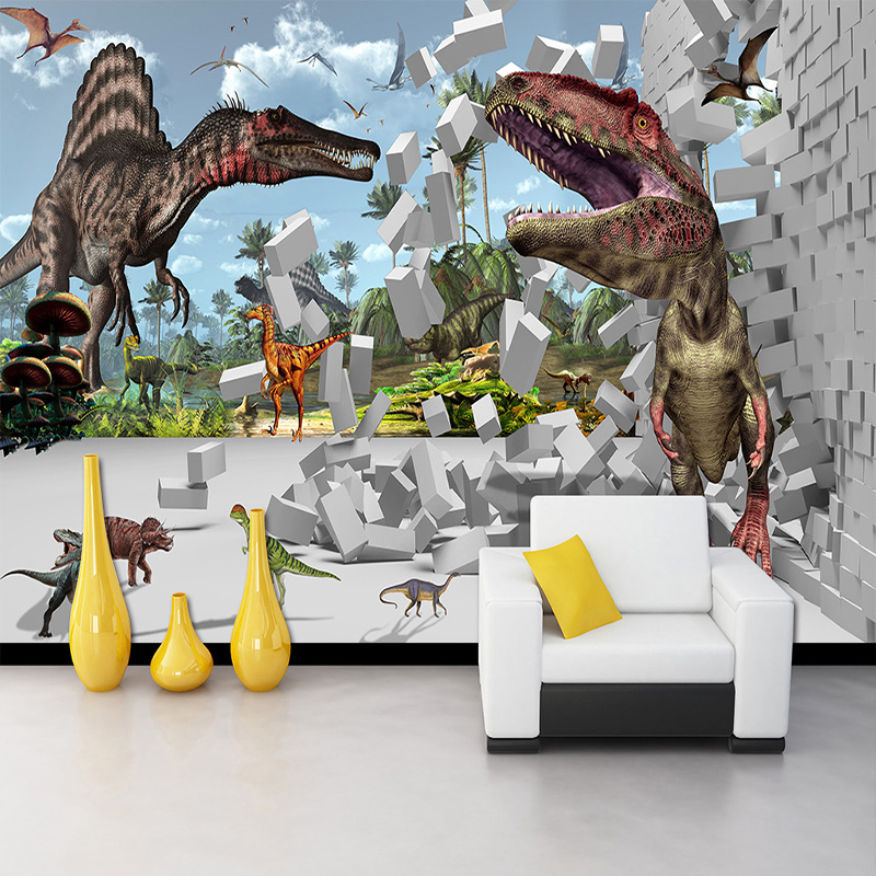 3D Stereoscopic Brick Pattern Dinosaur Broken Wall Large Wall Painting Cafe Restaurant Living Room Bedroom Photo Wallpaper Mural