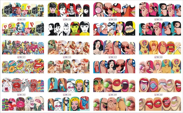12 Pakpartij Water Decal Nail Art Sticker Volledige Cover Pop Art