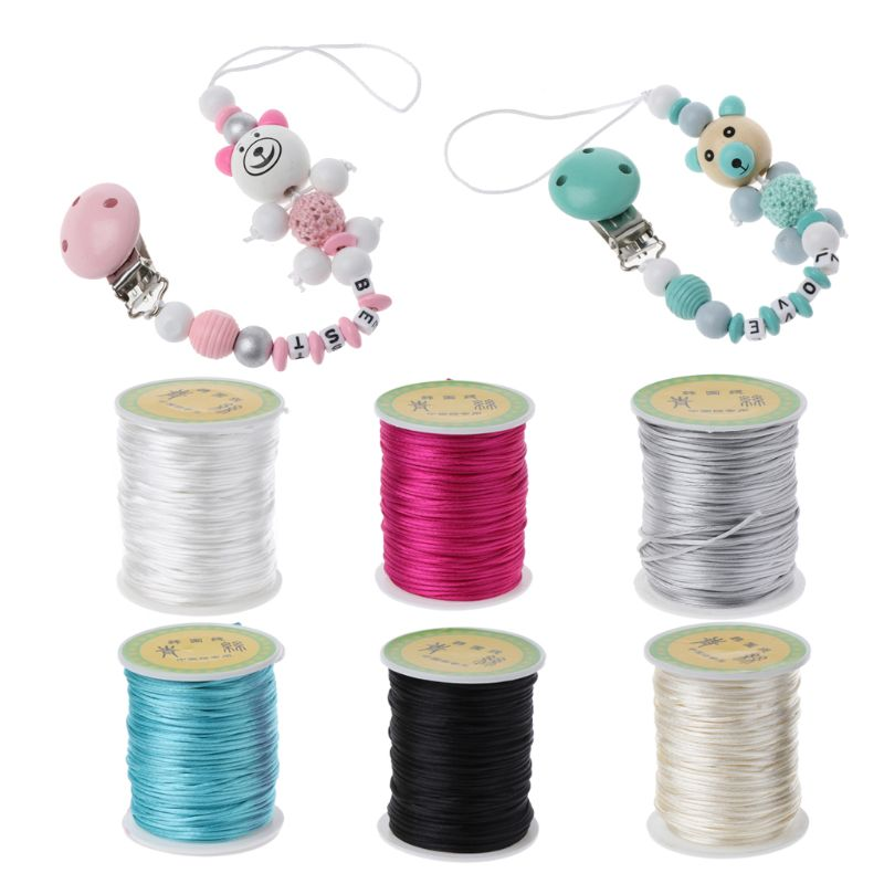 Colorful 80 Meters Satin Silk Rope Nylon Cord For Baby Pacifier Chian Teether Accessories Teething Necklace Cord DIY Tool