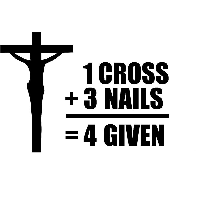 13cm9 5cm jesus cross nails forgiven decal sticker funny vinyl car stickers and motorycle car accessories black sliver c8 0171 in car stickers from