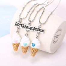 Free shipping Best Friends BFF resin ice cream pendant bead chain necklace 3 colors lead nickel