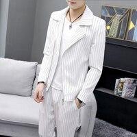 Men Striped Jacket and Pants 2019 Summer and Autumn New Men White Casual Sets Asia Size XXXL Business Banquet Mens Dress Suit