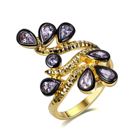 New Fashion Women Rings Cute Nice Flower Design Bride Wedding Jewelry Gold Plated Brass Metal Lead