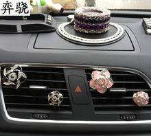 Beautiful lady car perfume Auto air conditioner clip Rhinestone Flower styling freshener Air outle