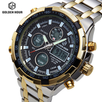 Full Steel Silver Gold Watches Mens Military Sport Wristwatch Led Digital Date Hours Back Light Watch