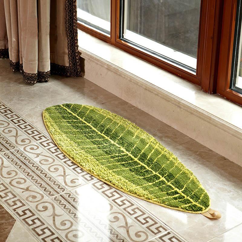 Rustic Green Leaf Waterproof Absorbent Carpet Rug Blanket Doormat Floor Bedroom Living Room Mats Tapetes De Sala Lfombras Area In Mat From Home Garden On