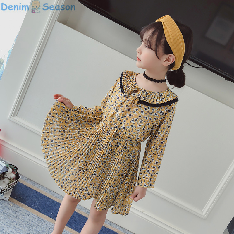 DenimSeason 2018 Spring Girls Dress Chiffon Party Princess Dress Beach Girls  Birthday Summer Dress Floral Kid Clothes Girls kid girls sweater lace dress 2018 spring