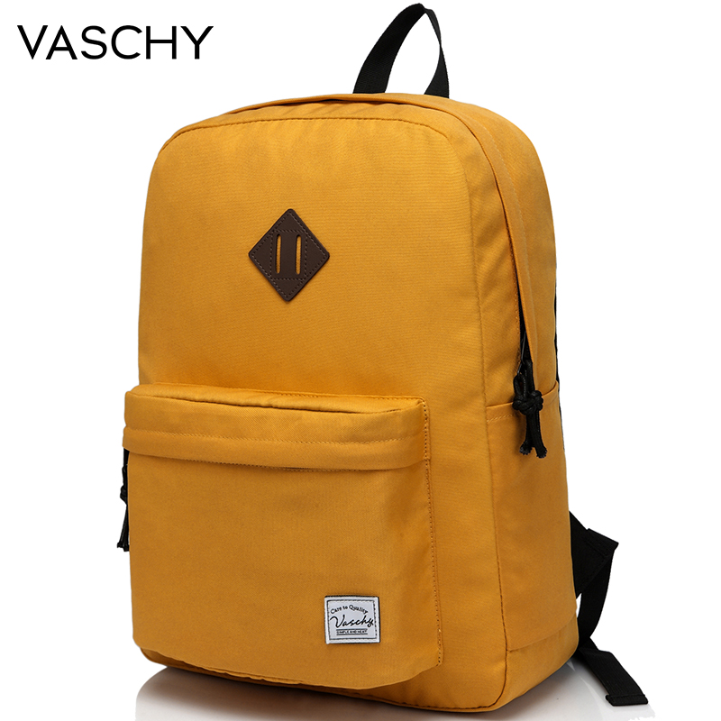 VASCHY School Backpack For Teenagers Travel School Bags Bookbag Fashion Classic University Student Backpacks Mochilas Yellow