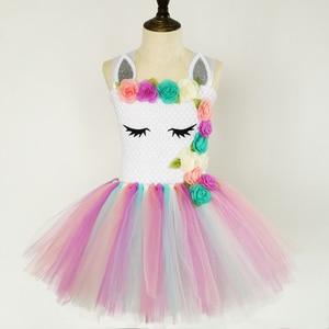 Image 2 - Pastel Unicorn Tutu elbise bebek çocuk kız çiçek doğum günü Masquerade parti elbise çocuk Purim günü cadılar bayramı noel kostüm