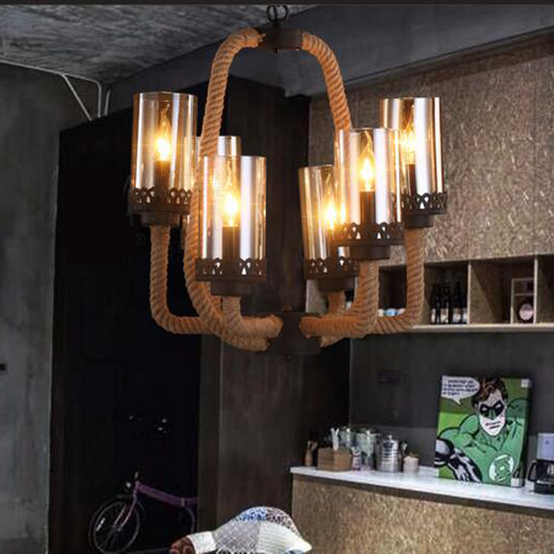 Pendant Light country creative restaurant cafe Nordic retro clothing store lighting living room rope hotel pendant lamp LU728307 nordic wrought iron creative pendant light dia 42cm carved flower shade restaurant cafe clothing shop living room hanging lamp