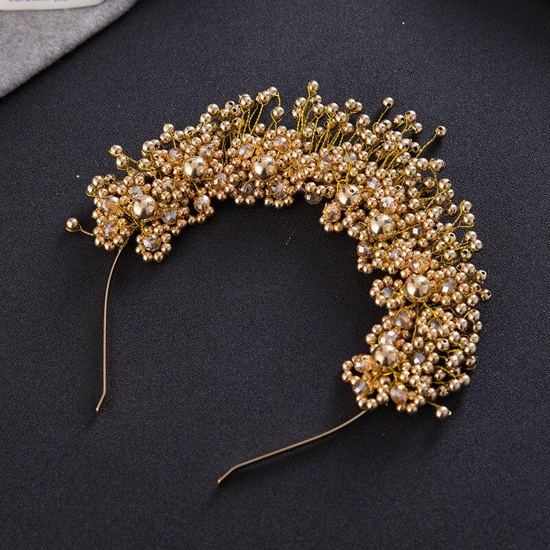 Fashion Handmade Beaded Crystal Jewelry Gold Color Tiara Imitation Pearl Crown Hair Hoop Wedding Accessories Bride Headwear