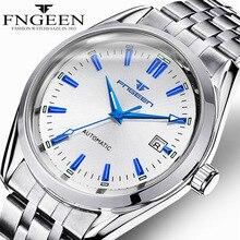 Мужские автоматические механические часы с синими стрелками с календарем Дата montre homme водостойкий reloj hombre FNGEEN 6612-1