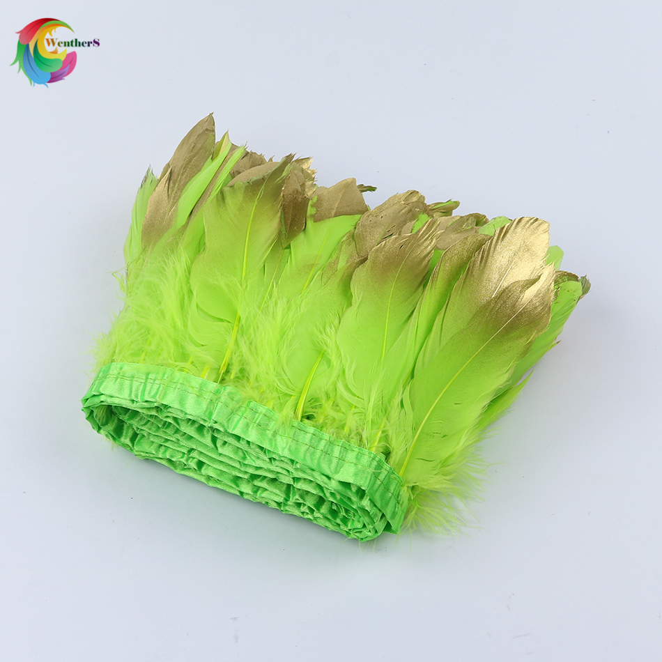 Wholesale Dipped gold Goose feather trimming Height 15-20cm Apple green feather strip for Craft Skirt Clothing Sewing plume