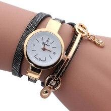 Duoya Style Girls Bracelet Watch Luxurious Gold Quartz Leather-based Wrap Informal Wristwatches