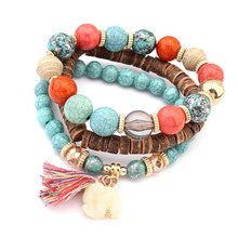 3PCs/Set Bohemian Trendy Brand Design White Colorful Simulated-Jade Oak Wood Beads Elastical Wild Style Bracelets Gifts
