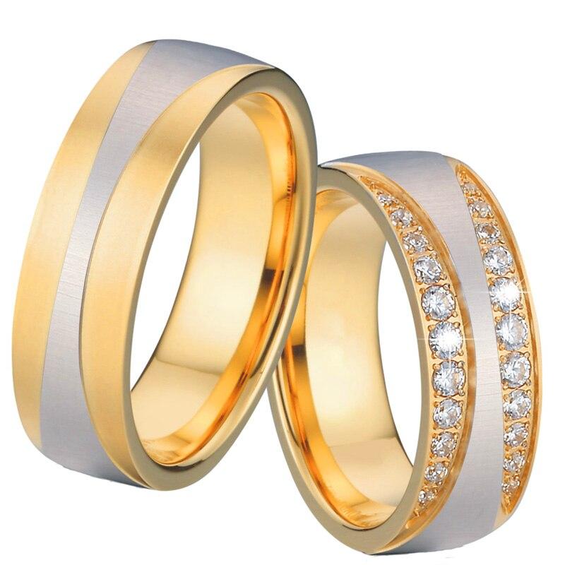 ヾノtitanium Wedding Engagement Rings For Women Gold Color