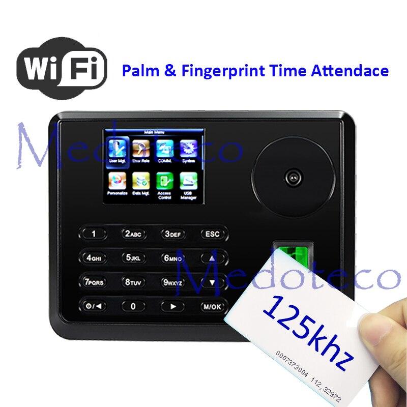 New Wifi Palm Time Attendance Employee Hybird Biometric Electronic Attendance BioID Fingerprint & Rfid Time Recorder