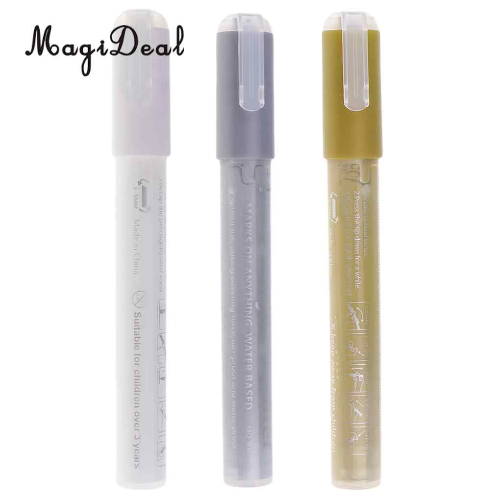 12pcs Black White Silver Gold Acrylic Paint Pens 0.7mm Drawing Marker Pen for
