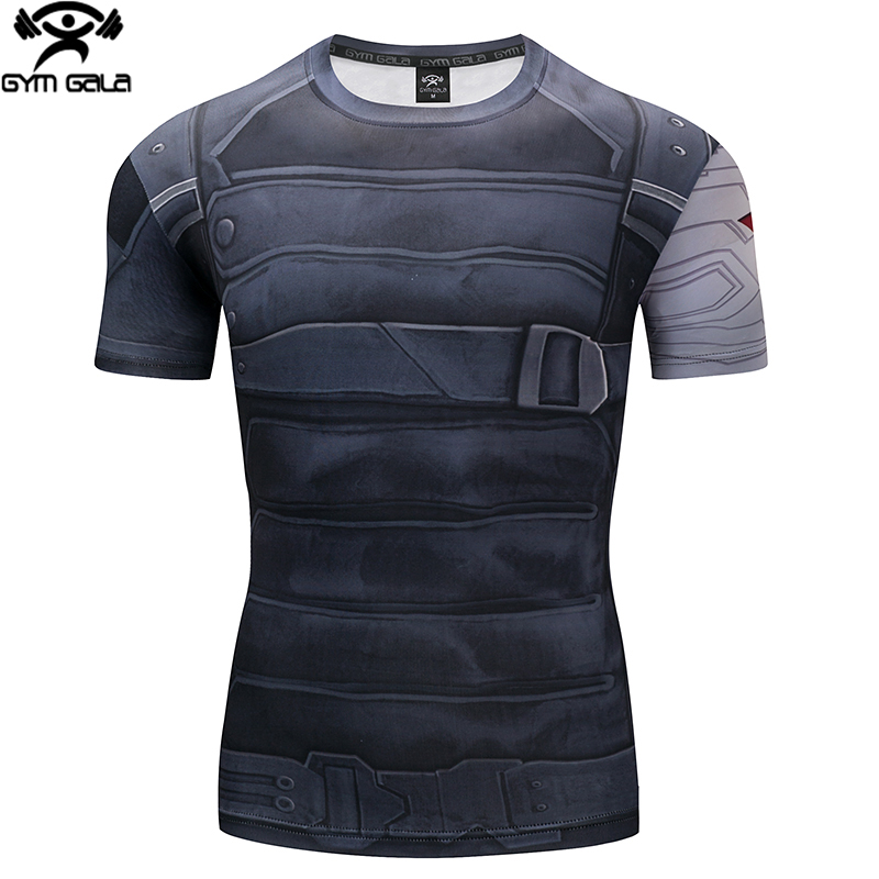 Superman Tshirts Men Compression Shirts Batman Tops Flash T-shirts Fitness Crossfit Tees Bodybuilding camiseta rashguard