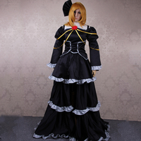 New Arrival Anime Cosplay Vocaloid Miku For Adult Women Vocaloid Kagamine Rin Black Dress Cosplay Halloween Costumes