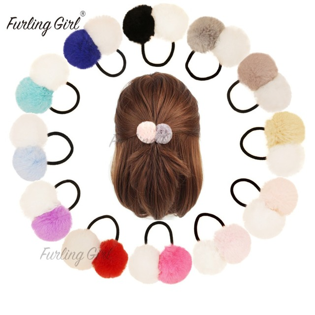 Furling Girl 1PC Faux Fur Pom Poms Hair Scrunchies Bobble Elastic Hair Bands  Ponytail Double Balls Hair Ties Girls Cheerleader 1f5b51c0287