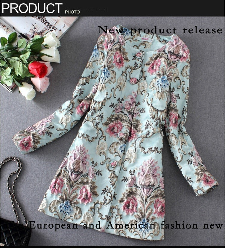 AMBMCM 2017 New Fashion High Quality European American Elegant Style Brand jacket women Stereo Embroidery Coat Spring coat