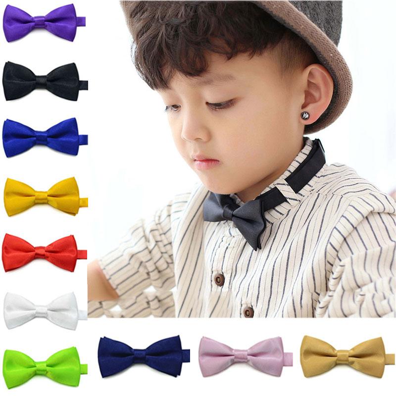 2017 New Children Kids Ties Boys Toddler Infant Solid Bowtie Pre Tied Wedding Bow Tie Necktie New Fashion -MX8
