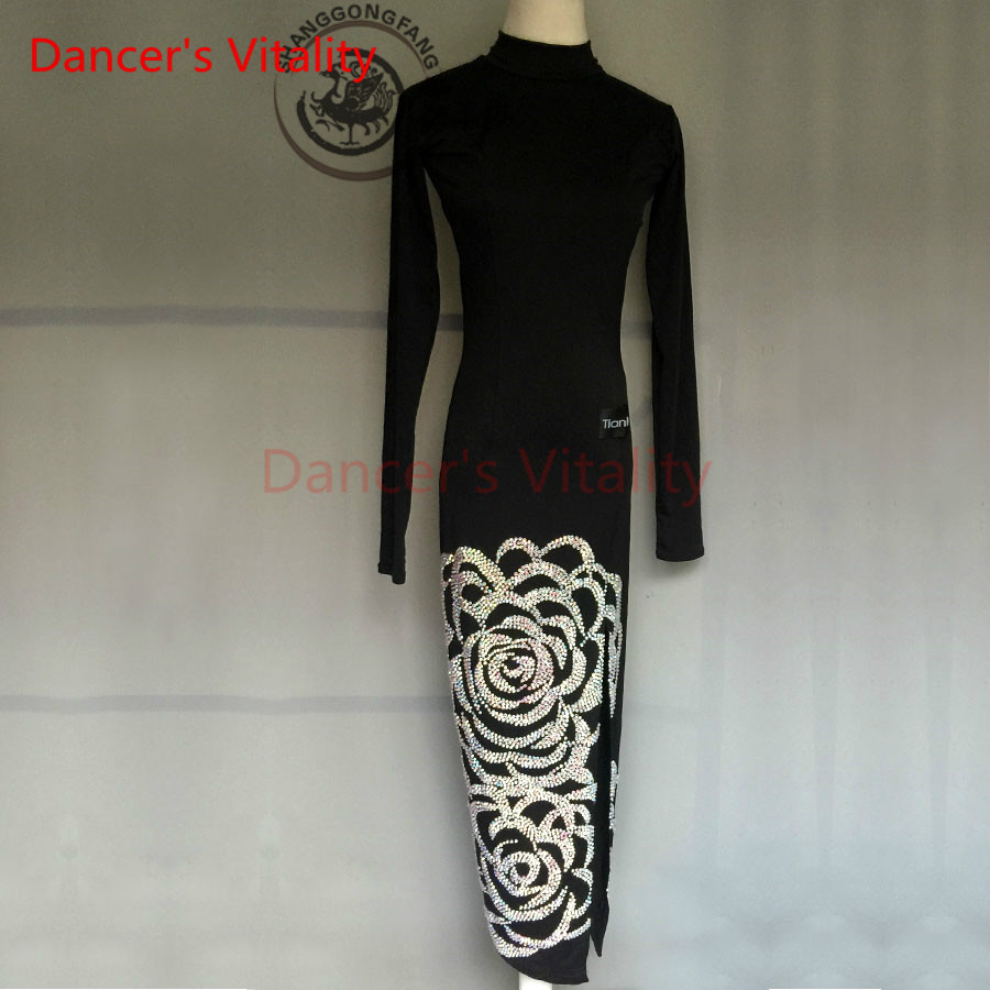 Dancers Vitality 2017 New Brand Long Sleeves Embroidery Latin Dance Dress Women Salsa Samba Tango Dancing Dress For Kids