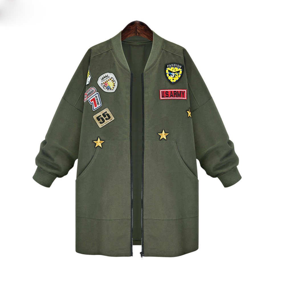 Más el Tamaño 5XL Bomber Jacket Coat Mujeres Otoño Primavera de Manga Larga Bord