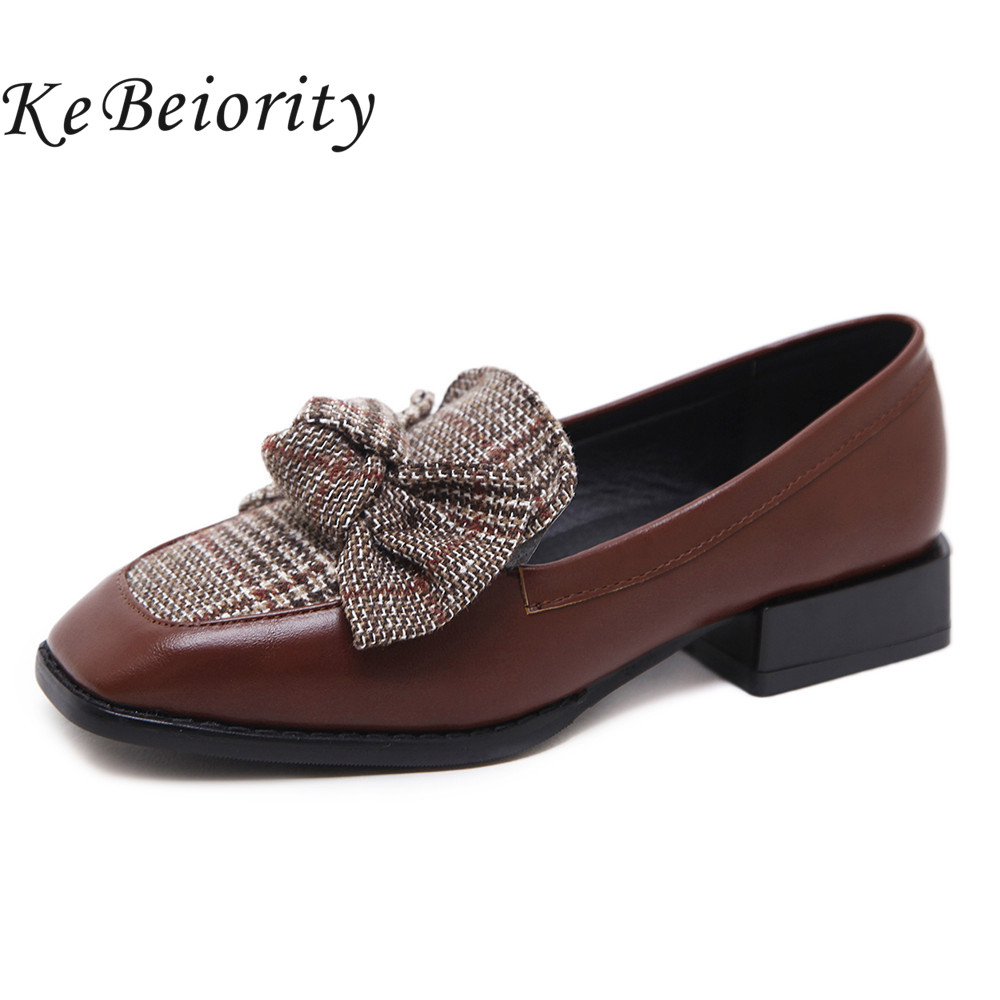 KEBEIORITY Spring Women Shoes 2018 Chunky Heel Low Heels Shoes Slip On Square Toe Casual Loafers Shoes Women with Bow spring shoes women flat heel round toe casual comfort flats pregnant loafers slip resistance low heels all match