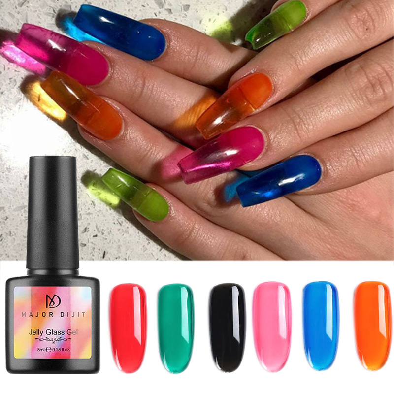1Bottle Jelly Glass Candy Gel Nail Polish 8ml Tranparent Crystal Amber Suit For Summer Series Neon Color UV Nail Gel Polish