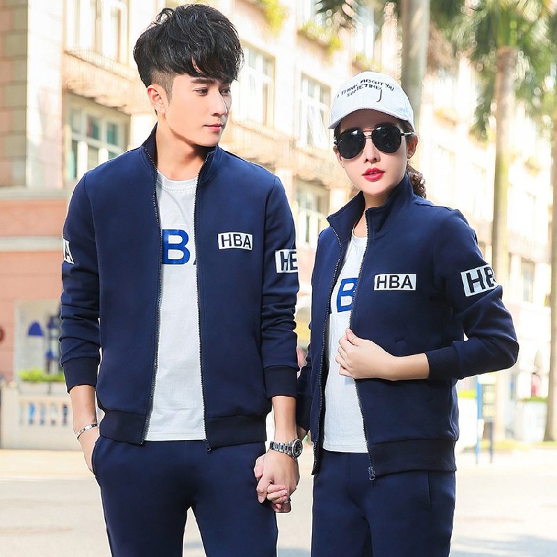 2017 spring autumn couple sports set three-piece running set long-sleeved sweater suit student outdoor mountaineering spo 2017 new brand sports yoga set autumn long sleeved hoodie running fitness sports suits yoga clothing three piece women sweater