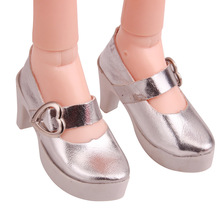 BJD 60 cm Dolls shoes Fashionable shiny silver heels 1/3 Gir