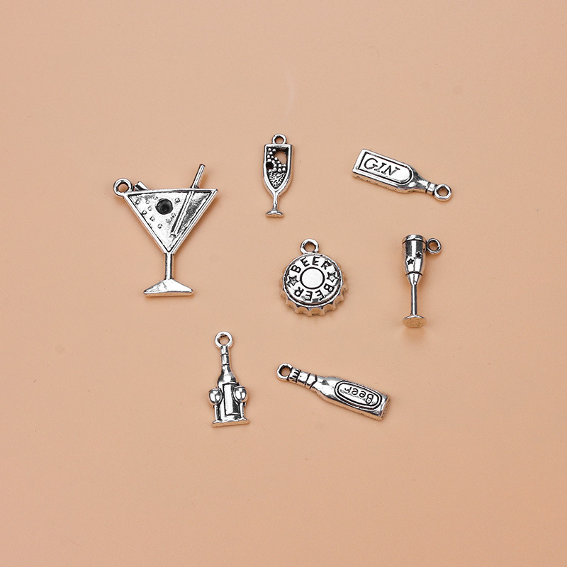 7pcs Mixed bottle series charms pendants alloy Antique Silver Jewelry DIY Fit Bracelets Necklaces Anklets