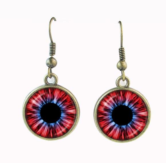 6faf3be4425 Preto vermelho azul do olho do dragão brinco olho de gato brincos  pendurados para mulheres pingente olho do mal charme vidro dome de gravuras  mulheres ...