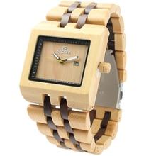 La mejor Madera Reloj de Hombres Reloj de La Manera, Banda de madera Rectángulo Marcado Relojes Analógicos, Resistente Al agua Relojes Casuales