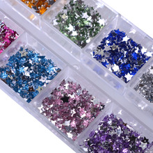 12 Color Glitter Star Nail Christmas DIY Designs Nail Decorations Nail Studs DIY Manicure Sets for Nails Cellphone Decor CH127