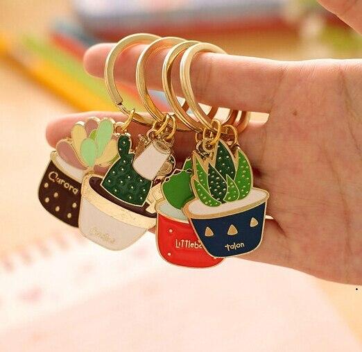 [4Y4A] 4pcs/set Creative succulents cactus Metal Keychain Pendant Chain Ring bookmark