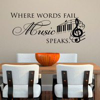 Where Words Fail Music Speaks Wall Stickers Quotes Removable DIY Home Decor Vinyl Wall Decals Musical