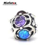 Mistletoe Genuine 925 Sterling Silver Wisdom lapis lazuli Opal Garnet Fit European Troll Bracelet Bracelet Jewelry