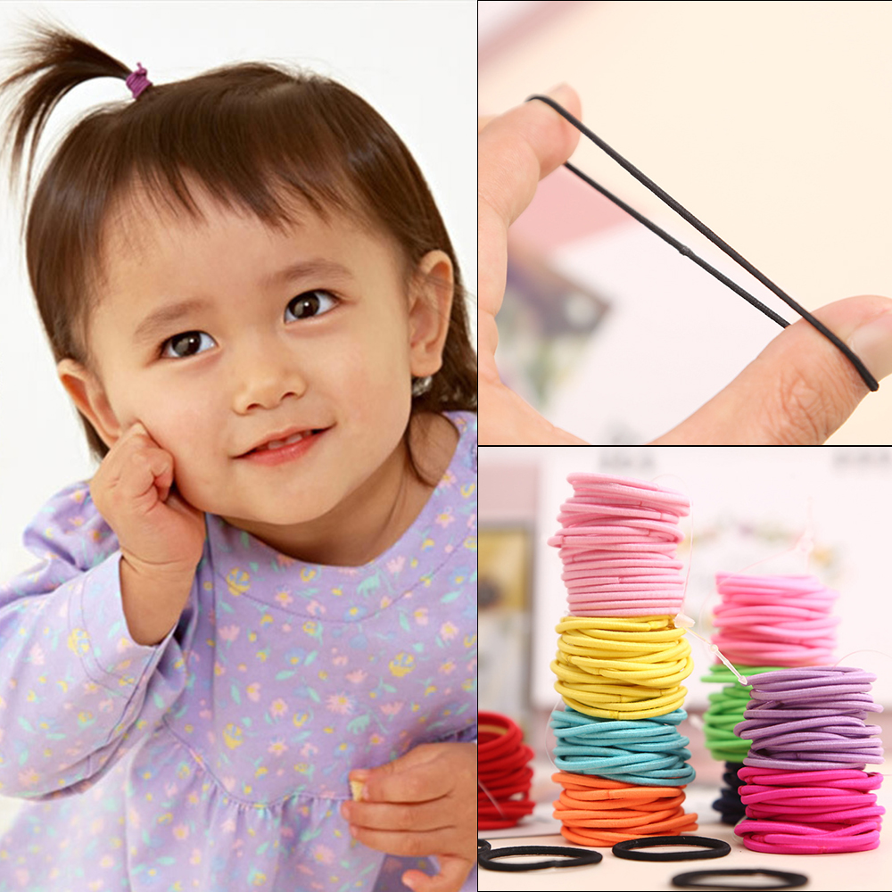 100Pcs/lot Colorful Child Kids Hair Holders Cute Rubber Hair Band Elastics Accessories Girl Women Charms Tie Gum Baby Headband