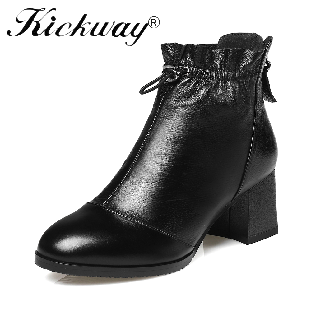 Kickway Boots Women Genuine Leather Ankle Black Booties Thick Med Heel Womens Shoes Back Zip botas mujer Size 34-42