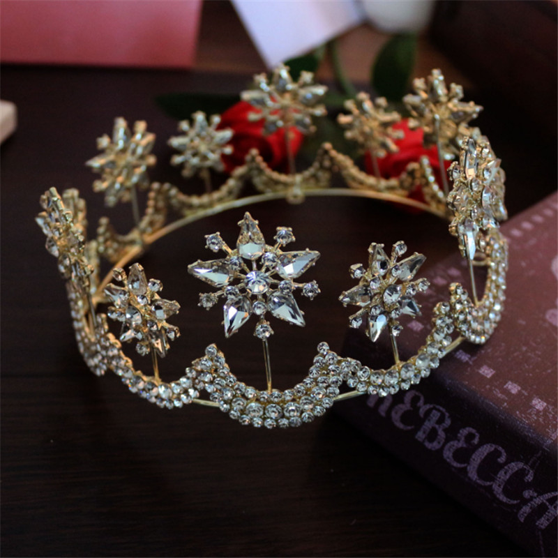 Luxury Big Crystal Bridal Star Moon Crown Tiaras Wedding Hair Accessories Gold Silver Diadem Round Tiaras Bride Hair Jewelry XNS 00009 red gold bride wedding hair tiaras ancient chinese empress hair piece